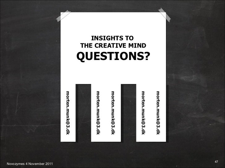 INSIGHTS TO  THE CREATIVE MIND QUESTIONS? [email_address] [email_address] [email_address] [email_address] [email_address]