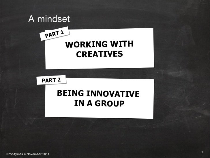 WORKING WITH CREATIVES BEING INNOVATIVE  IN A GROUP PART 1 PART 2 A mindset