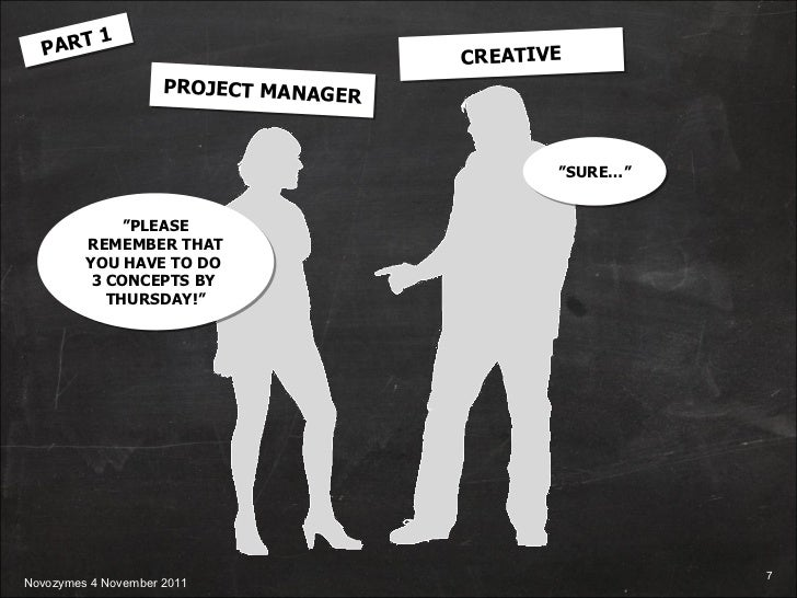 """PROJECT MANAGER CREATIVE PART 1 """" PLEASE REMEMBER THAT YOU HAVE TO DO  3 CONCEPTS BY  THURSDAY!"""" """" SURE…"""""""