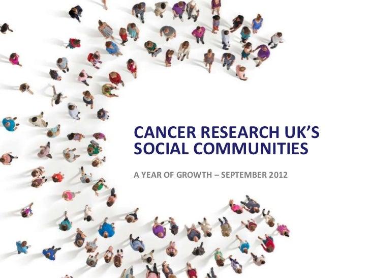 CANCER RESEARCH UK'SSOCIAL COMMUNITIESA YEAR OF GROWTH – SEPTEMBER 2012