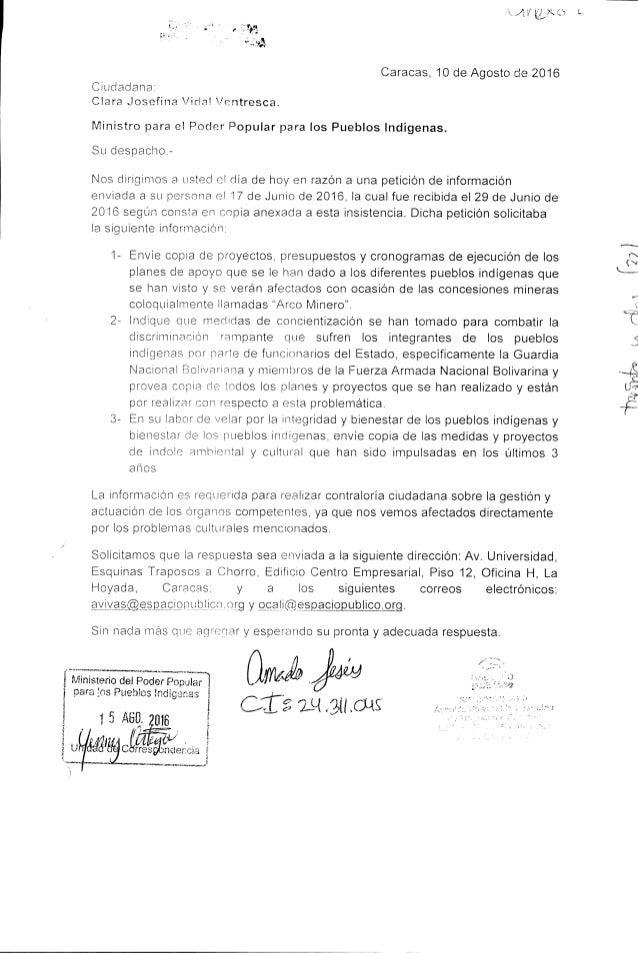 Insistencia petición de información MPPPI (agosto 2016)