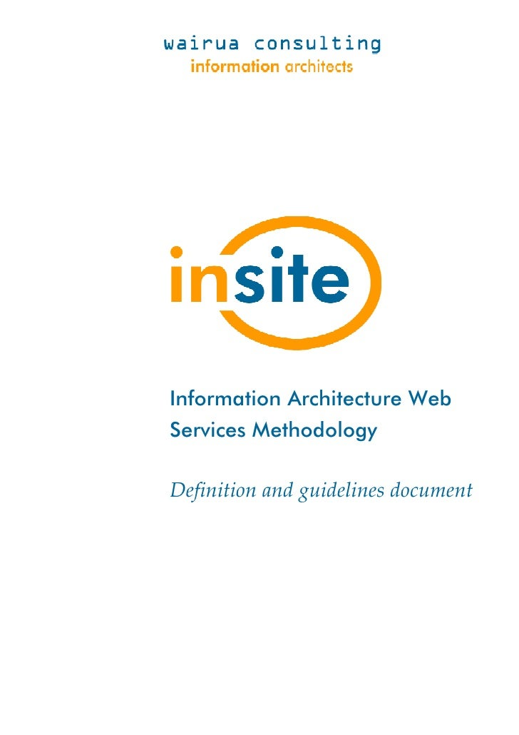 Information Architecture Web Services Methodology  Definition and guidelines document