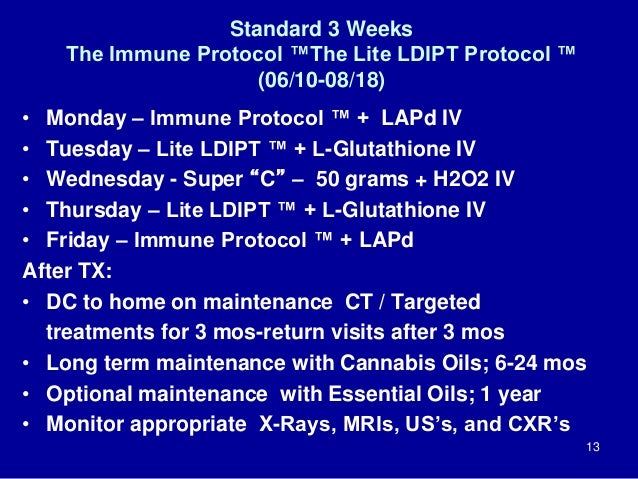 Standard 3 Weeks The Immune Protocol ™The Lite LDIPT Protocol ™ (06/10-08/18) • Monday – Immune Protocol ™ + LAPd IV • Tue...