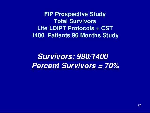 FIP Prospective Study Total Survivors Lite LDIPT Protocols + CST 1400 Patients 96 Months Study Survivors: 980/1400 Percent...