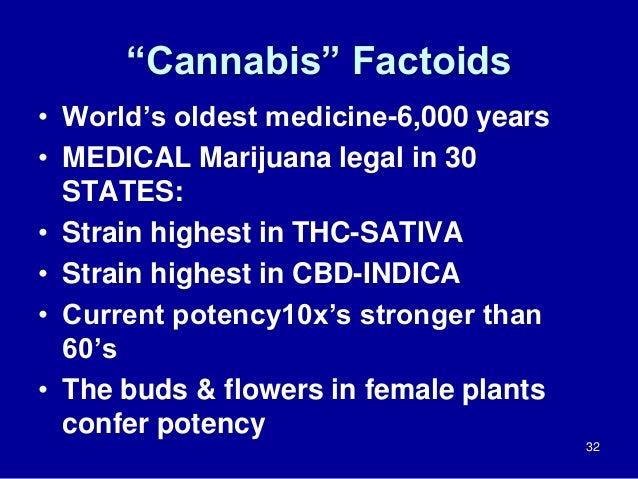 """Cannabis"" Factoids • World's oldest medicine-6,000 years • MEDICAL Marijuana legal in 30 STATES: • Strain highest in THC-..."