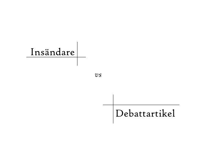 Insändare  Debattartikel vs