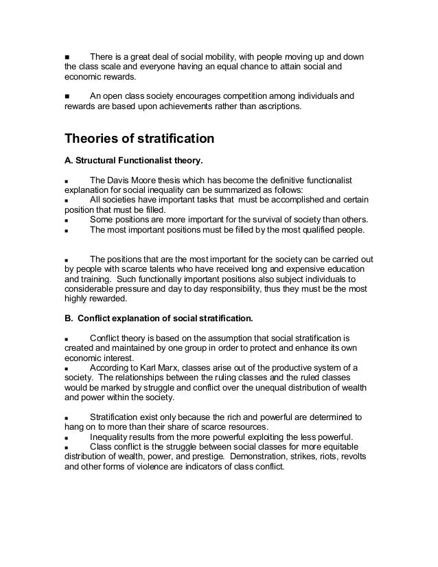 Davis-moore thesis of social stratification