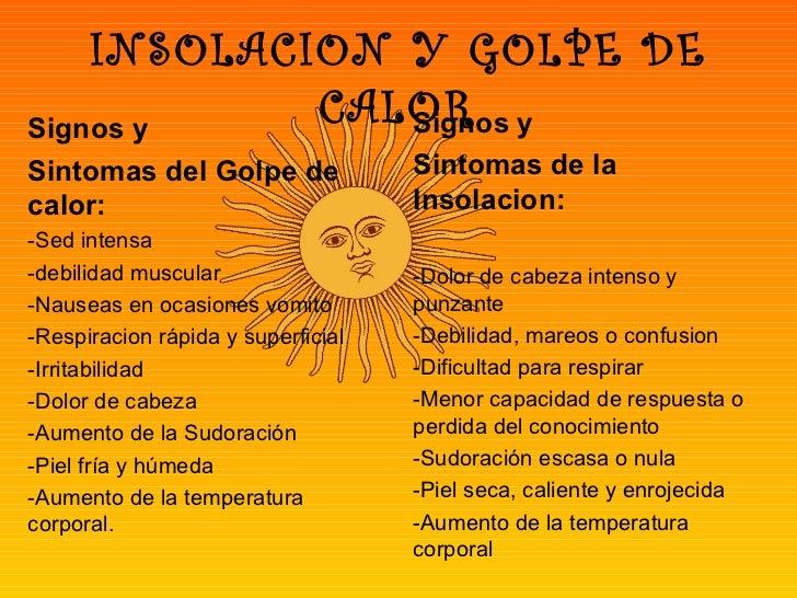 INSOLACION Y GOLPE DESignos y            CALOR y               SignosSintomas del Golpe de               Sintomas de lacal...