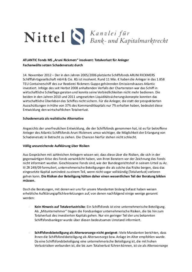 """ATLANTIC Fonds MS """"Aruni Rickmers"""" insolvent: Totalverlust für AnlegerFachanwälte setzen Schadenersatz durch14. November 2..."""