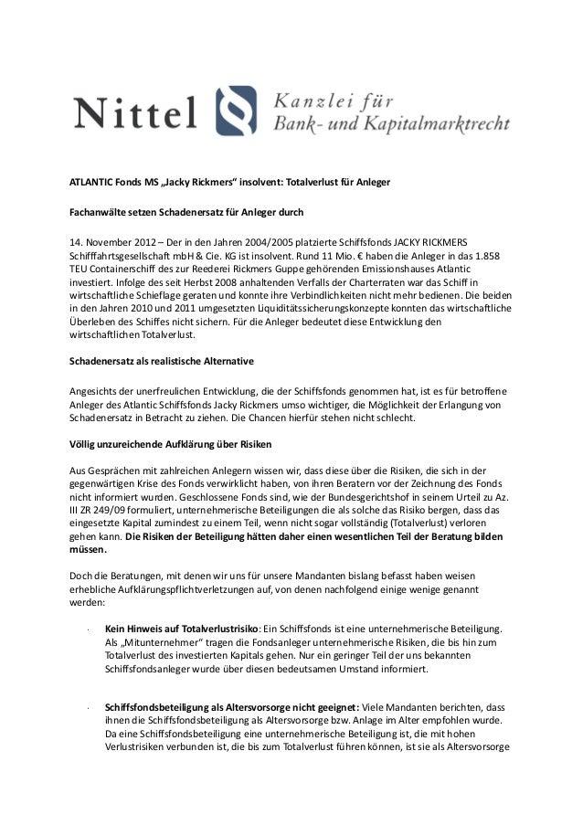 """ATLANTIC Fonds MS """"Jacky Rickmers"""" insolvent: Totalverlust für AnlegerFachanwälte setzen Schadenersatz für Anleger durch14..."""