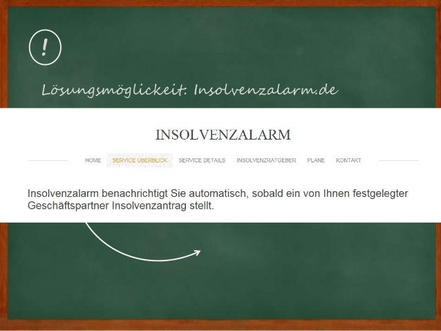 ! Lösungsmöglickeit: Insolvenzalarm.de