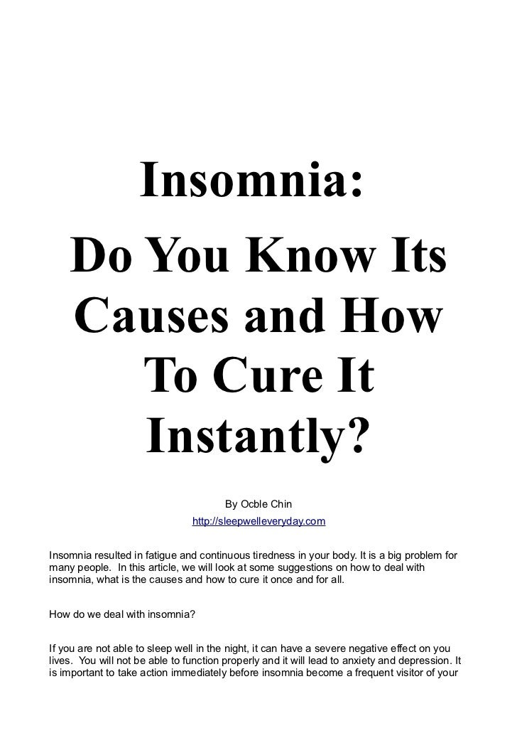 An Overview of Insomnia