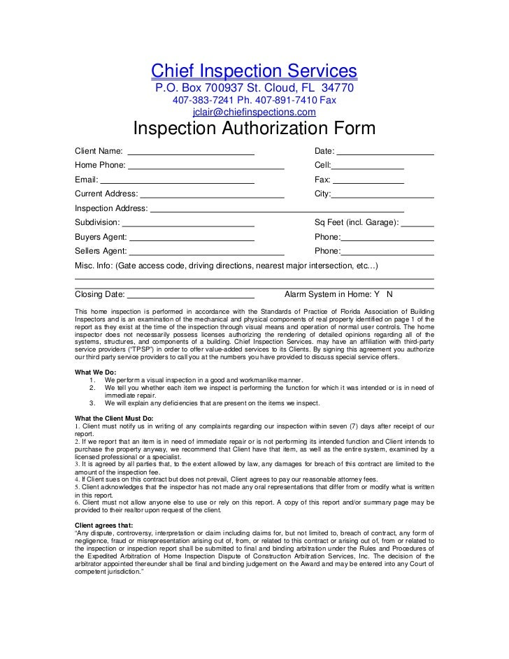 Chief Inspection Services                            P.O. Box 700937 St. Cloud, FL 34770                                  ...