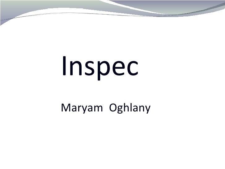 Inspec   Maryam  Oghlany