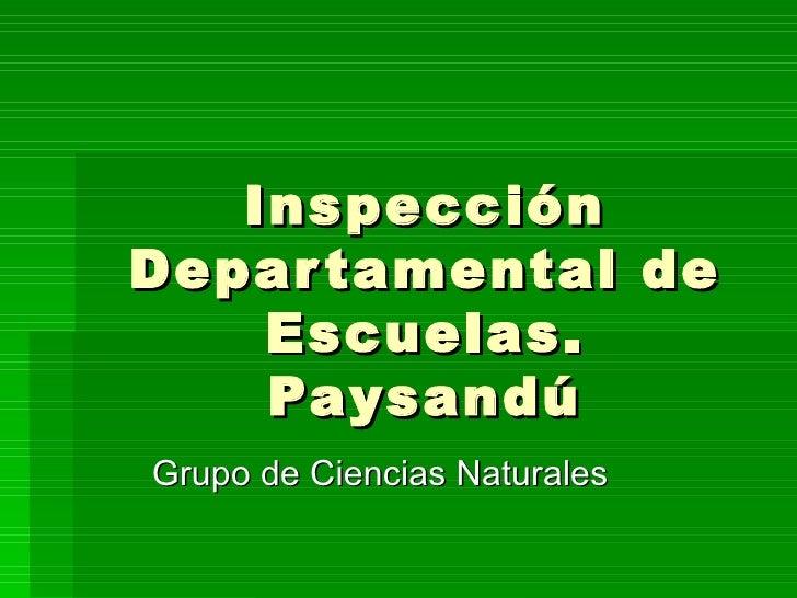 Inspección Departamental de Escuelas. Paysandú Grupo de Ciencias Naturales