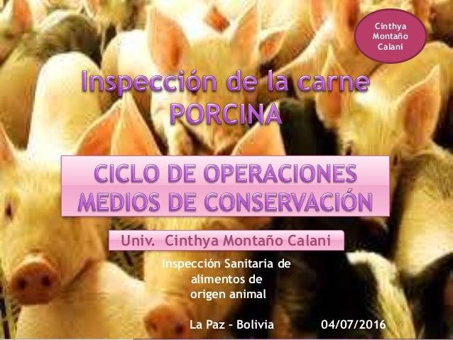 Inspección Sanitaria de alimentos de origen animal La Paz – Bolivia 04/07/2016 Univ. Cinthya Montaño Calani Cinthya Montañ...