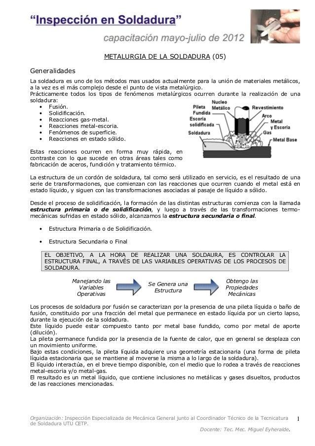 Organización: Inspección Especializada de Mecánica General junto al Coordinador Técnico de la Tecnicatura  de Soldadura UT...