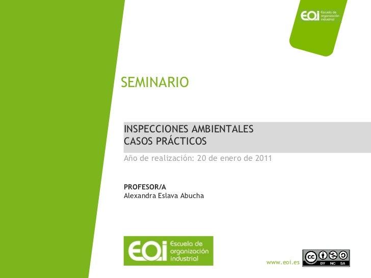 INSPECCIONES AMBIENTALES CASOS PRÁCTICOS SEMINARIO Año de realización: 20 de enero de 2011 PROFESOR/A Alexandra Eslava Abu...