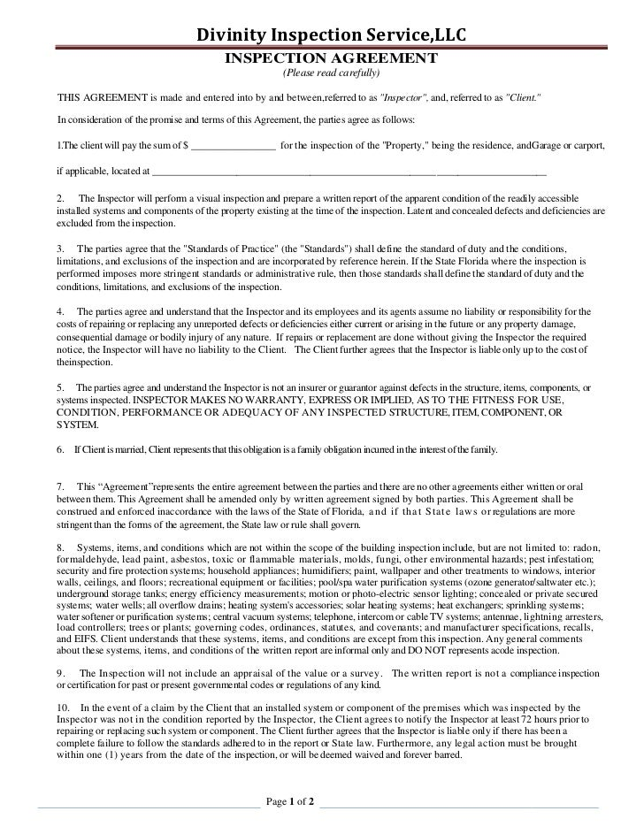 INSPECTION AGREEMENT<br />(Please read carefully)<br />THIS AGREEMENT is made and entered into by and between, referred to...