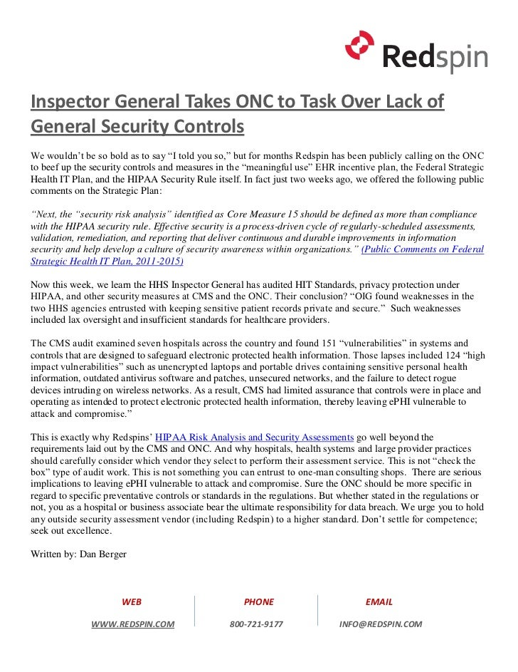 "Inspector General Takes ONC to Task Over Lack ofGeneral Security ControlsWe wouldn't be so bold as to say ""I told you so,""..."