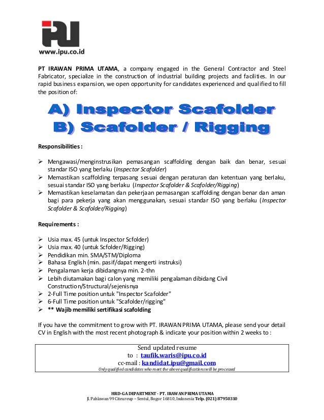 HRD-GA DEPARTMENT - PT. IRAWANPRIMA UTAMAJl. Pahlawan 99 Citeureup – Sentul, Bogor 16810, Indonesia Telp. (021)87950310PT ...