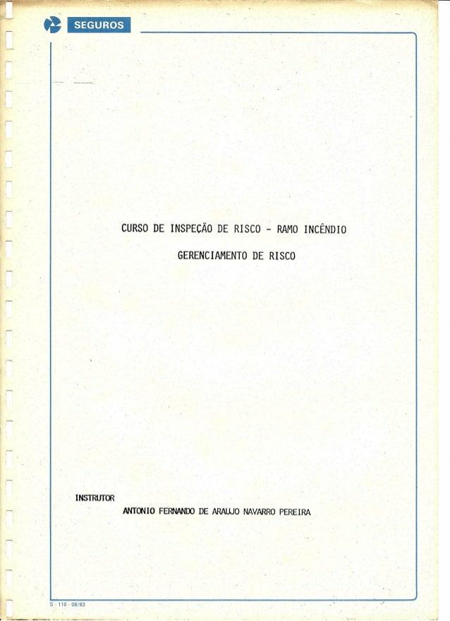 ····1  L SEGUROS  CURSO DE INSPECÃO DE RISCO - RAMO INCÊNDIO GERENCIAMENTO DE RISCO . I  INSTRUTOR ANTOOIO FERrWlOO DE ARA...