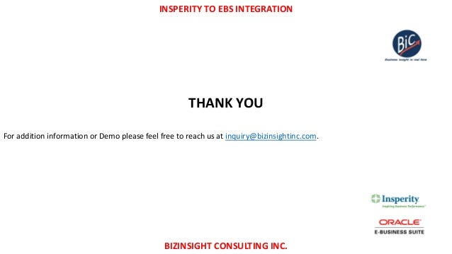 Insperity to Oracle ebs integration