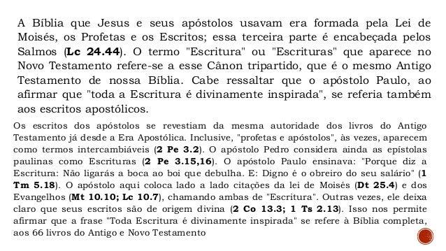 III - INSPIRAÇÃO PLENA E VERBAL Essa característica bíblica significa que cada palavra foi inspirada pelo Espírito Santo (...