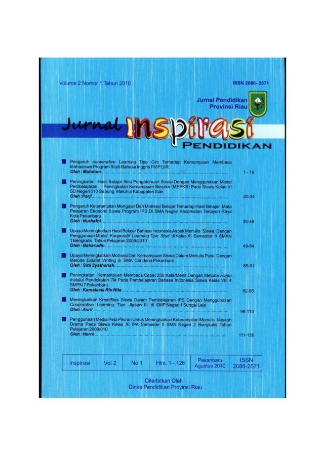 Sudah diterbitkan di: Jurnal Inspirasi Pendidikan.Vol. 2(1): 1-19. ISSN 2086-2571.  PENGARUH COOPERATIVE LEARNING TIPE CIR...