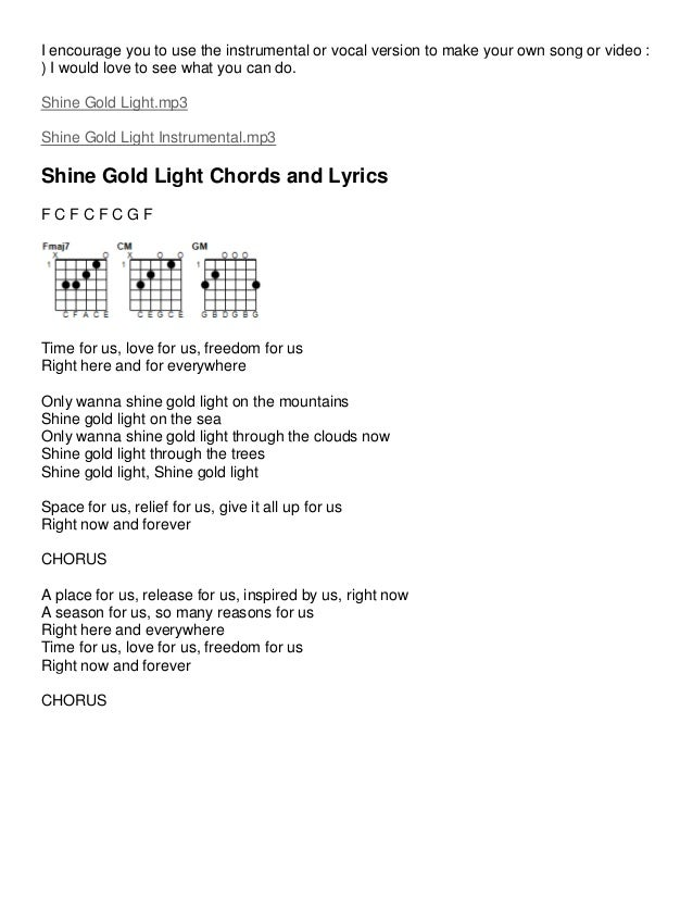 Inspirational Music Lyrics and Guitar Chords