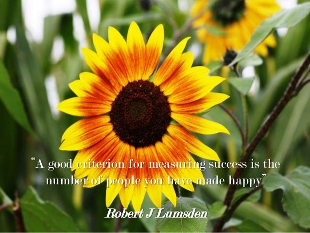 """""""A good criterion for measuring success is the number of people you have made happy"""" Robert J Lumsden"""