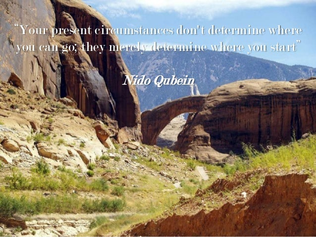 """Your present circumstances don't determine where you can go; they merely determine where you start"" Nido Qubein"