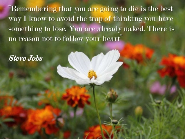 """""""Remembering that you are going to die is the best way I know to avoid the trap of thinking you have something to lose. Yo..."""
