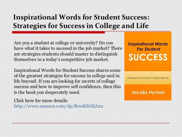strategies for success in college Strategies for success learning environment, and assignment of collaborative activities esl students' problems with communication according to scheele, pruitt, johnson.