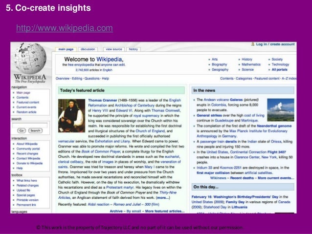5. Co-create insights  http://www.wikipedia.com       © This work is the property of Trajectory LLC and no part of it can ...