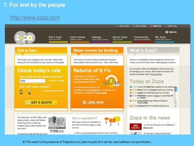 7. For and by the people  http://www.zopa.com       © This work is the property of Trajectory LLC and no part of it can be...