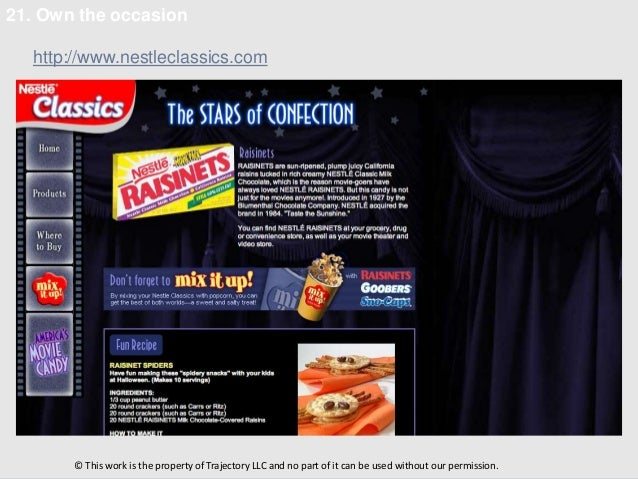 21. Own the occasion  http://www.nestleclassics.com       © This work is the property of Trajectory LLC and no part of it ...
