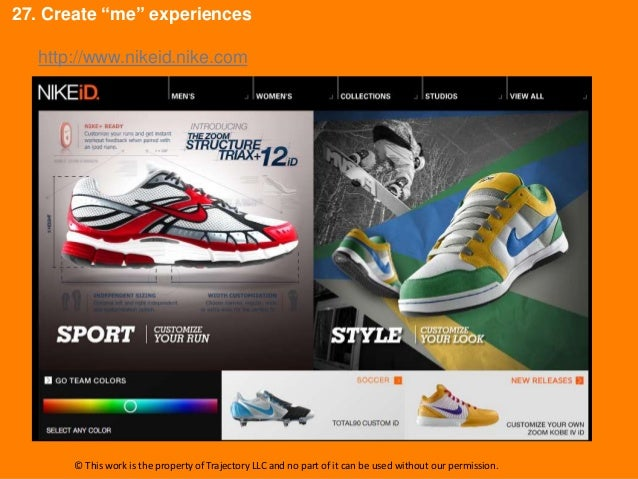 """27. Create """"me"""" experiences  http://www.nikeid.nike.com       © This work is the property of Trajectory LLC and no part of..."""