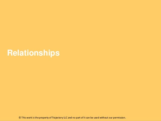 Relationships  © This work is the property of Trajectory LLC and no part of it can be used without our permission.