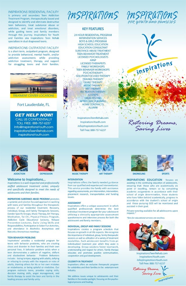 Inspirations For Youth And Familie Teen Rehab Brochure