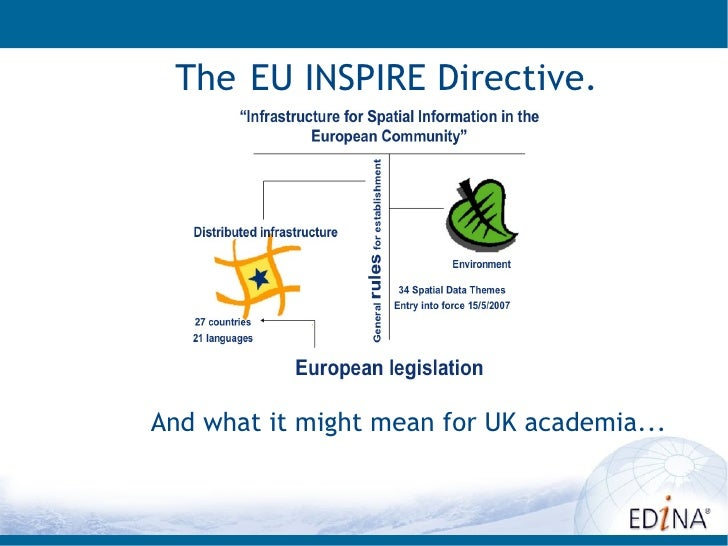 The EU INSPIRE Directive.And what it might mean for UK academia...