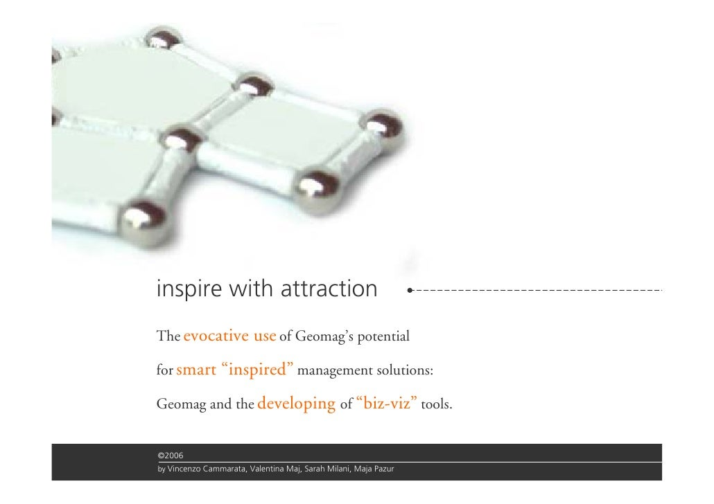 """inspire with attraction The evocative            use of Geomag's potential for smart       """"inspired"""" management solutions..."""