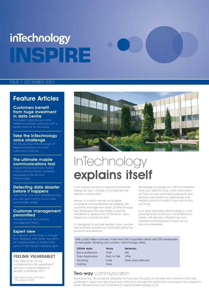 ISSUE 1 DECEMBER 2007     Feature Articles  Customers benefit  from huge investment  in data centre  Increased capacity an...