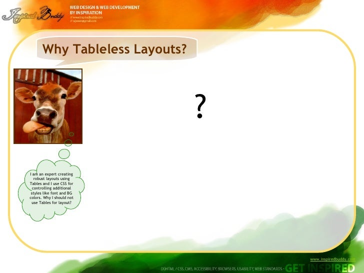 Why Tableless Layouts? ? I am an expert creating robust layouts using Tables and I use CSS for controlling additional styl...