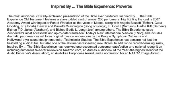 Inspired By     The Bible Experience Proverbs Free Audio books Trial