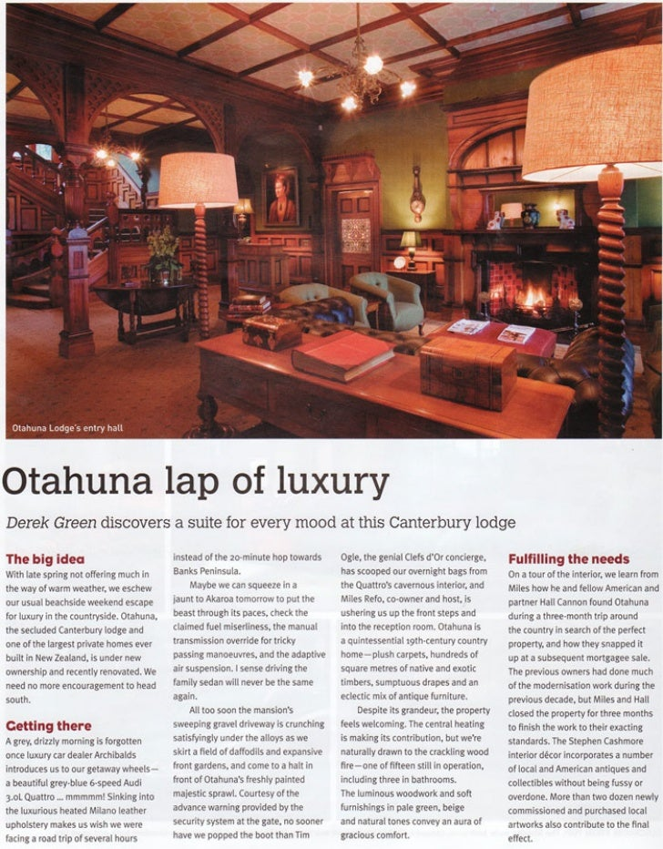 Inspire December 2008 - Otahuna Luxury Lodge New Zealand