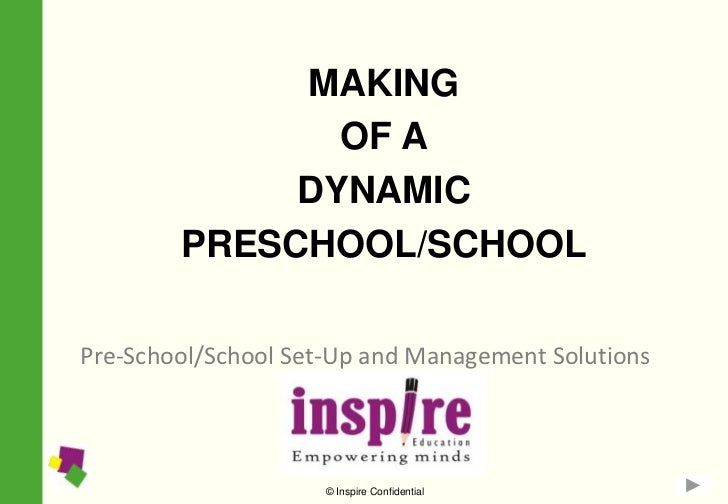 MAKING               OF A             DYNAMIC        PRESCHOOL/SCHOOLPre-School/School Set-Up and Management Solutions    ...