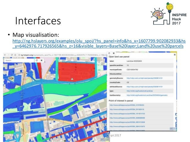 Interfaces • Map visualisation: http://ng.hslayers.org/examples/olu_spoi/?hs_panel=info&hs_x=1607799.902082933&hs _y=64629...