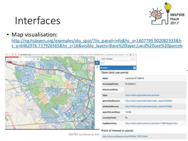 Interfaces • Map visualisation: http://ng.hslayers.org/examples/olu_spoi/?hs_panel=info&hs_x=1607799.902082933&h s_y=64629...