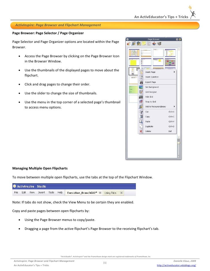 An ActivEducator's Tips + Tricks         ActivInspire: Page Browser and Flipchart Management   Page Browser: Page Selector...